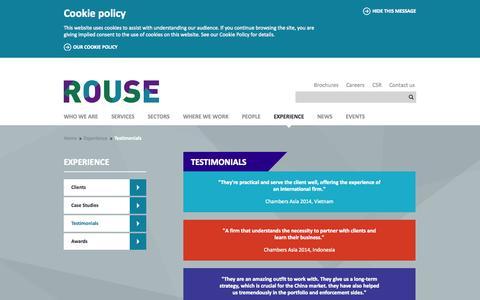 Screenshot of Testimonials Page rouse.com - Rouse - Testimonials - captured Sept. 19, 2014