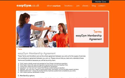 Screenshot of Terms Page easygym.co.uk - Terms & Conditions - captured Sept. 19, 2014