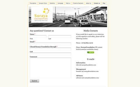 Screenshot of Contact Page surayafoundation.com - Contact us - Suraya Foundation - captured Oct. 7, 2014