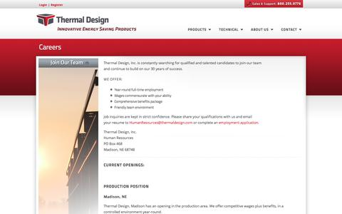 Screenshot of Jobs Page thermaldesign.com - Thermal Design, Inc. - Steel Building Insulation Systems - captured Oct. 25, 2017