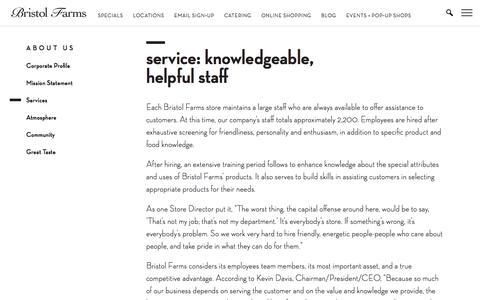 Screenshot of Services Page bristolfarms.com - Service: Knowledgeable, Helpful Staff   Bristol Farms - captured Aug. 4, 2018