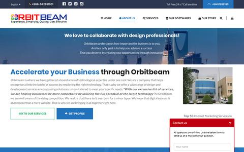Screenshot of About Page orbitbeam.net - we do website, mobile apps , software development and support, - captured Nov. 9, 2018