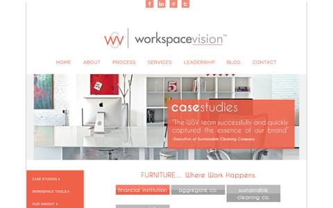Screenshot of Case Studies Page workspacevision.com - WorkspaceVision | Dallas, TX | Workspace Strategy & Consulting Firm - captured Oct. 26, 2014