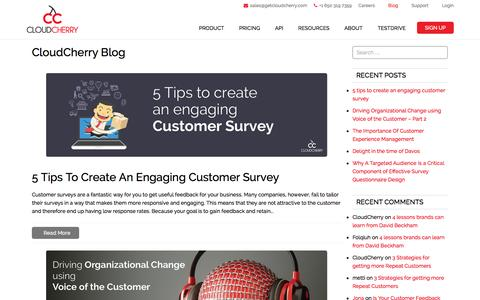 Screenshot of Blog getcloudcherry.com - CloudCherry Blog | Cloudcherry - Customer Experience Management and Feedback Software - captured Jan. 29, 2016