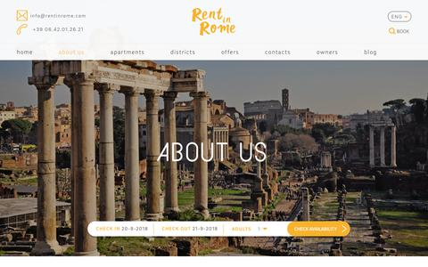 Screenshot of About Page rentinrome.com - Holiday Rental Apartments in Rome   Exclusive homes in the city centre - captured Sept. 20, 2018