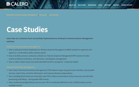 Screenshot of Case Studies Page calero.com - Enterprise Communications ManagementCase Studies   Enterprise Communication Management - captured Oct. 1, 2014