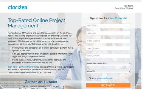 Screenshot of Landing Page clarizen.com - Online Project Management Software l Clarizen - captured March 31, 2016