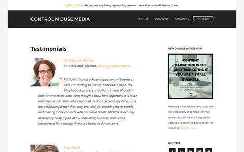 Screenshot of Testimonials Page controlmousemedia.com - Testimonials - Control Mouse Media - - captured Sept. 26, 2015