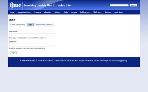 Screenshot of Login Page fjmc.org - login   Federation of Jewish Men's Clubs - captured Aug. 3, 2016