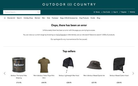 Screenshot of Site Map Page outdoorandcountry.co.uk - Oops, there has been an error | Outdoor and Country - captured Aug. 24, 2019