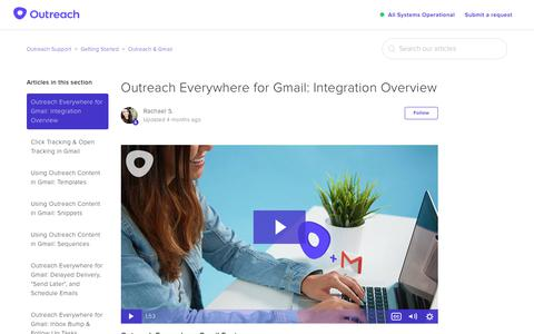 Screenshot of Support Page outreach.io - Outreach Everywhere for Gmail: Integration Overview – Outreach Support - captured Dec. 11, 2018