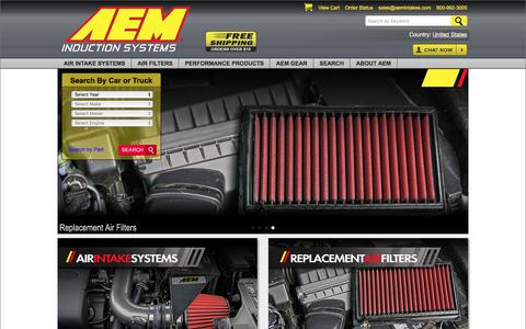 Screenshot of Home Page aemintakes.com - AEM Cold Air Intake Systems - Performance Air Intakes & Air Filters - captured May 28, 2017