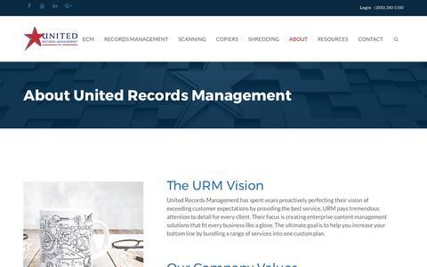 Screenshot of About Page uniteddocstorage.com - About United Records Management - captured Oct. 12, 2017