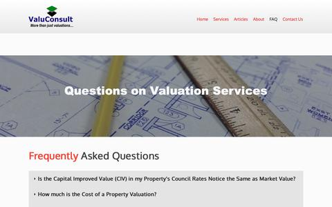 Screenshot of FAQ Page valuconsult.com.au - Questions on Valuation Services - captured Oct. 18, 2018
