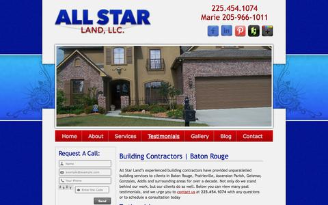 Screenshot of Testimonials Page allstarlandllc.com - Building Contractors Baton Rouge Prairieville Ascension Parish Geismar - captured Sept. 30, 2014