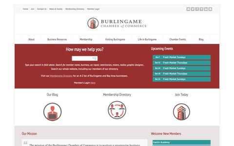Screenshot of Home Page burlingamechamber.org - Burlingame Chamber of Commerce - captured Oct. 7, 2018