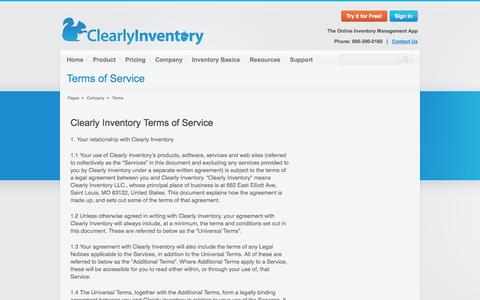 Screenshot of Terms Page clearlyinventory.com - Clearly Inventory Terms and Conditions - captured Sept. 19, 2014