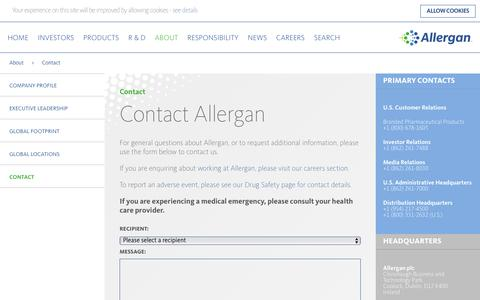 Screenshot of Contact Page allergan.com - Contact Allergan - Allergan - captured Feb. 12, 2017