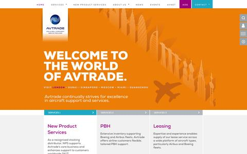 Screenshot of Home Page avtrade.com - Global Aviation Component Support Solutions - AOG PBH MRO Leasing - captured Feb. 6, 2016