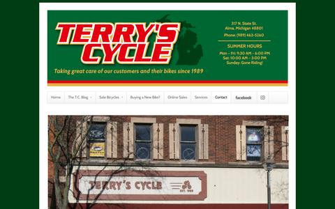 Screenshot of Contact Page terryscycle.com - Contact | Terry's Cycle - captured June 29, 2018