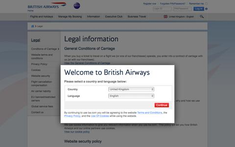 Legal | British Airways