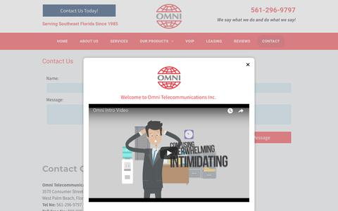 Screenshot of Contact Page telomni.com - Omni Telecommunications Inc West Palm Beach 561-296-9797 - captured July 4, 2018