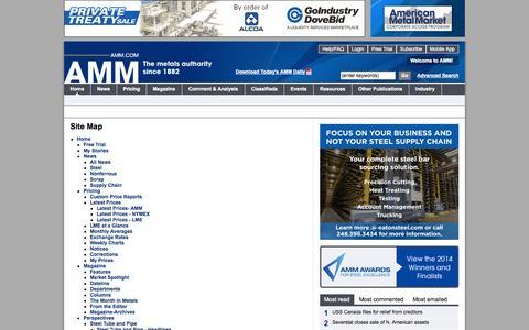 Screenshot of Site Map Page amm.com - AMM | International live metals news and pricing - captured Sept. 19, 2014