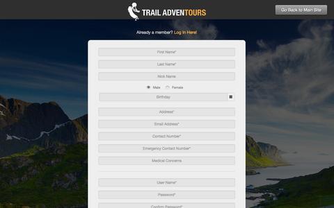 Screenshot of Signup Page trailadventours.com - Trail Adventours | registration - captured Sept. 30, 2014