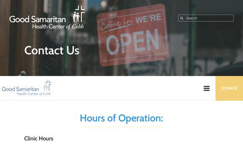 Screenshot of Hours Page goodsamcobb.org - The Good Samaritan Health Center of Cobb : Contact Us : Hours of Operation - captured Sept. 29, 2018
