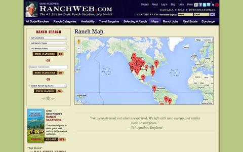 Screenshot of Maps & Directions Page ranchweb.com - Ranch Map | Ranch Locations | Find a Ranch - captured Oct. 26, 2014