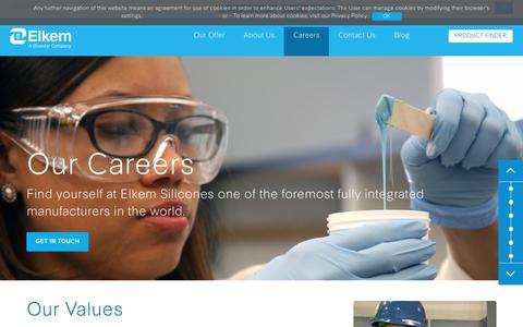 Screenshot of Jobs Page elkem.com - Our Careers | Elkem Silicones - captured July 31, 2018