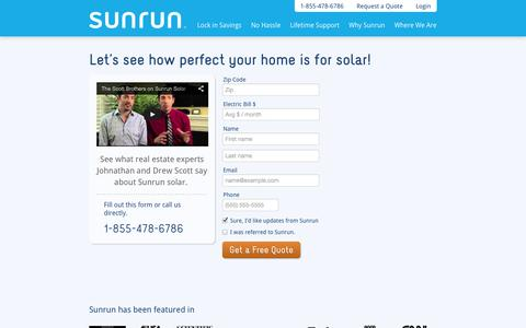 Screenshot of Signup Page sunrun.com - Free Home Solar Quote - captured Sept. 17, 2014