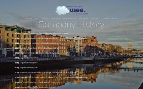 "Screenshot of About Page usee.ie - About us — ""Usee.ie monitored alarms & cloud cctv"" - captured Oct. 7, 2014"