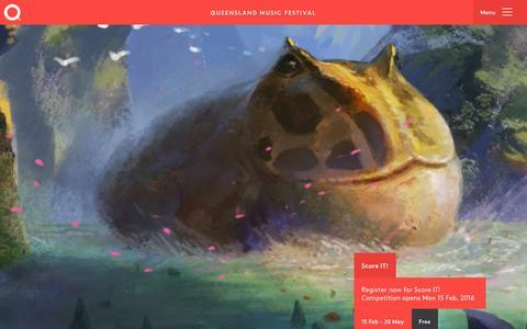 Screenshot of Home Page qmf.org.au - Queensland Music Festival - captured Feb. 2, 2016