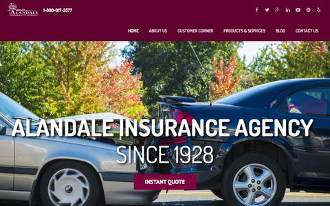 Screenshot of Home Page alandale.com - Alandale Insurance Agency: California Insurance Agents - captured Feb. 5, 2016