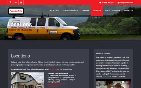 Screenshot of Locations Page cotaoil.com - Serving communities in Vermont and New Hampshire. | Cota & Cota - captured Sept. 29, 2018