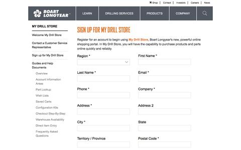 Screenshot of Signup Page boartlongyear.com - Sign up for My Drill Store - Boart Longyear - captured Aug. 3, 2018