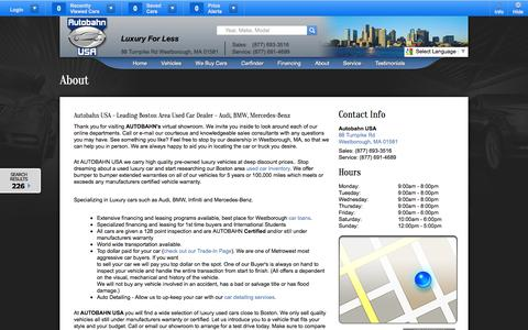 Screenshot of About Page Hours Page autobahnusa.com - About Autobahn USA | Used Audi, BMW, Mercedes-Benz Car Dealer in Boston, MA Area | Used Luxury Cars Near Westborough, Framingham, Shrewsbury & Norwood - captured Oct. 26, 2014