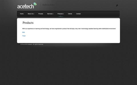 Screenshot of Products Page acetechglobalinc.com - Products | Acetech Global - captured Oct. 3, 2018