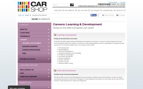 Screenshot of Jobs Page carshop.co.uk - Careers - Learning and Development | CarShop - captured July 18, 2014