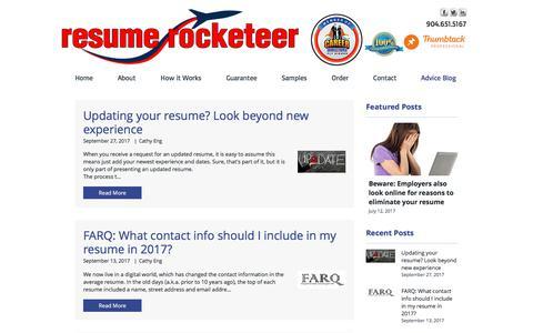 Screenshot of Blog resumerocketeer.com - Resume Rocketeer's Advice Blog - captured Nov. 10, 2017