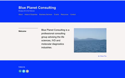 Screenshot of Home Page blueplanetconsulting.com - Blue Planet Consulting - captured Sept. 30, 2014