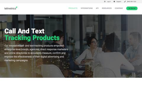 Screenshot of Products Page telmetrics.com - Call and Text Tracking Products | Telmetrics | Call Tracking for Businesses - captured Sept. 19, 2018