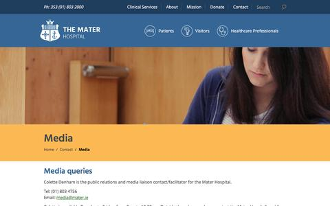 Screenshot of Press Page mater.ie - Media Queries | The Mater Hospital - captured Nov. 27, 2016