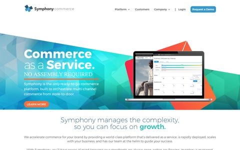 Screenshot of Home Page symphonycommerce.com - Symphony Commerce - Commerce as a Service - captured May 9, 2017