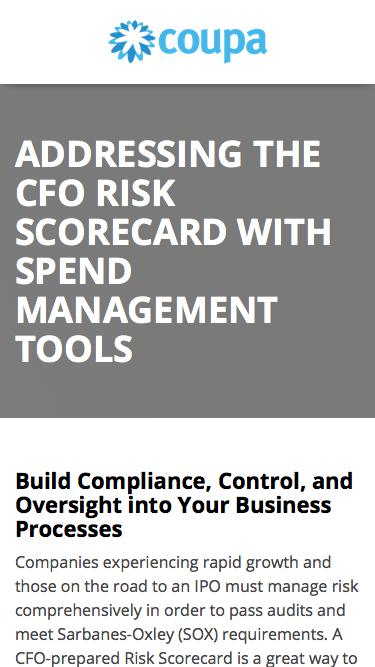 Addressing the CFO Risk Scorecard with Spend Management Tools | Spend Management Solutions | Coupa Software