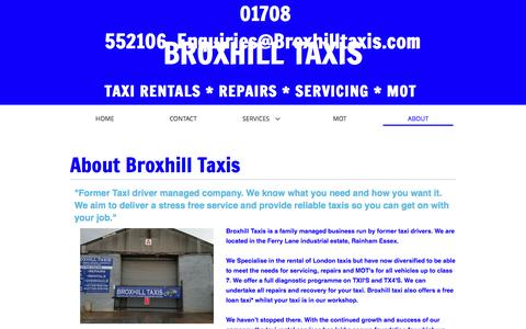 Screenshot of About Page broxhilltaxis.com - ABOUT - Broxhill Taxis - Taxi Rentals and Mechanics in Rainham - captured July 30, 2016