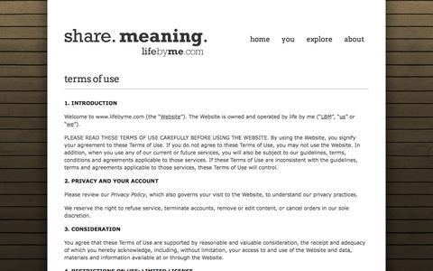 Screenshot of Terms Page lifebyme.com - Terms of Use   lifebyme - captured Nov. 2, 2014