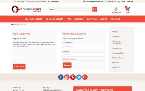 Screenshot of Login Page econtactlenses.com.au - Account Login - captured Sept. 30, 2018