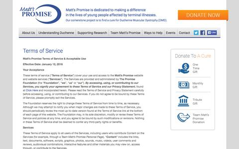 Screenshot of Terms Page mattspromise.org - Terms of Service «  Matt's Promise - captured Jan. 22, 2016
